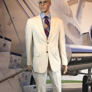 men's suit seersucker Nautica beige white 40R